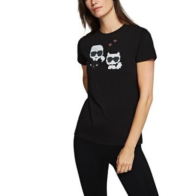 KARL LAGERFELD - T-shirt Choupette Karl Pixel - Black