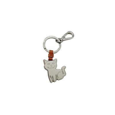 COCCINELLE - Gatto Portachiavi/Charm Basic Metal Nickel - Tan