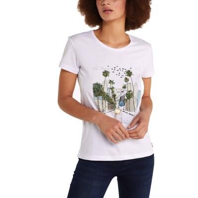 "PATRIZIA PEPE - T-shirt stampa ""City"" Los Angeles - Bianco"