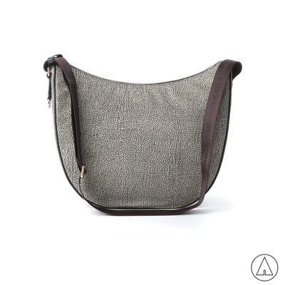 BORBONESE - Luna Bag Medium in Jet O.P. e pelle - Classico/Marrone