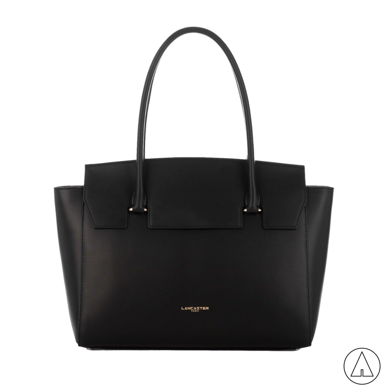 LANCASTER • Camelia Large Handle Bag with flap - Noir