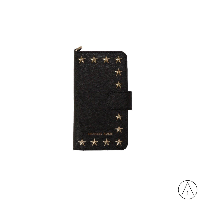 MICHAEL KORS • Cover in pelle saffiano con borchie per IPhone 7 - Black