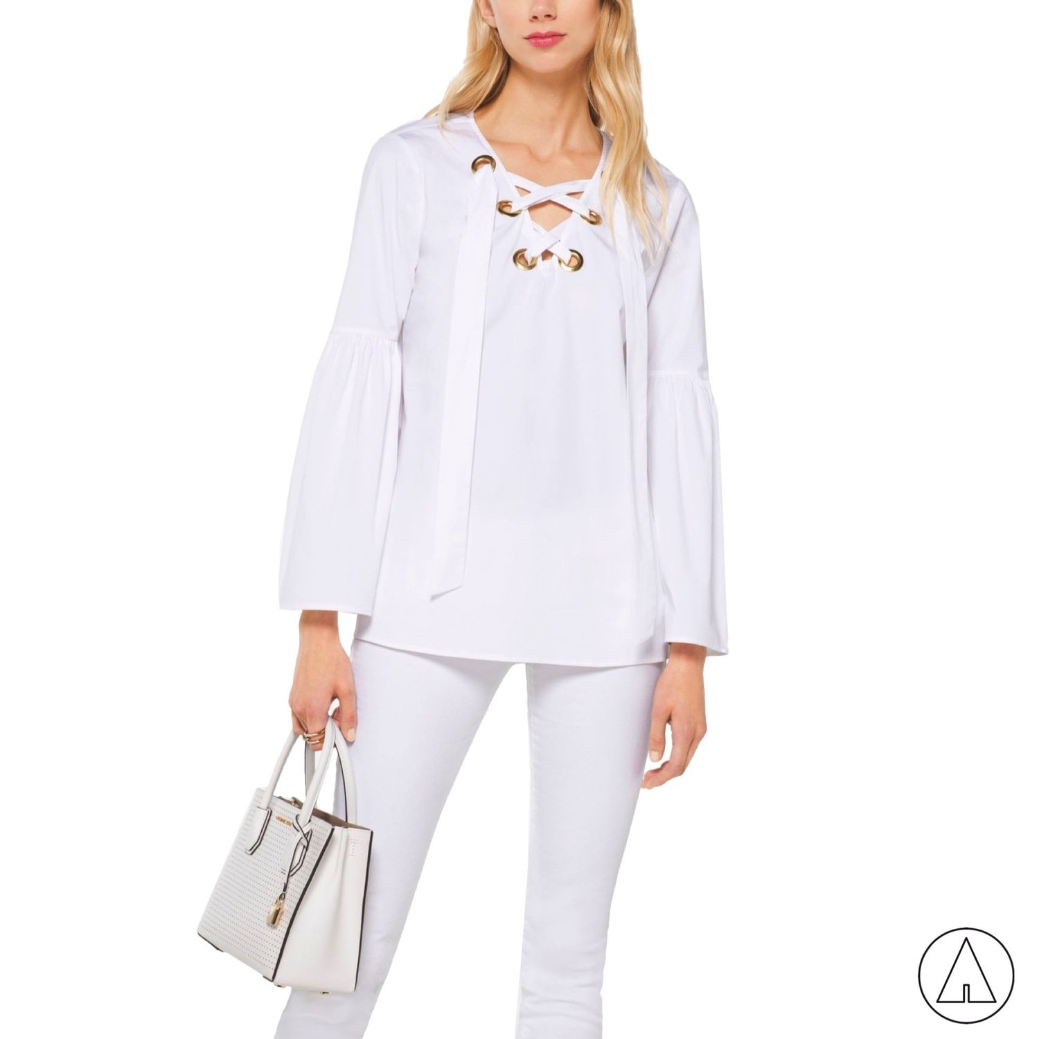 MICHAEL KORS • Blusa in cotone stretch - White