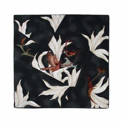 BORBONESE - Foulard origami 90x90 - Pewter/Black