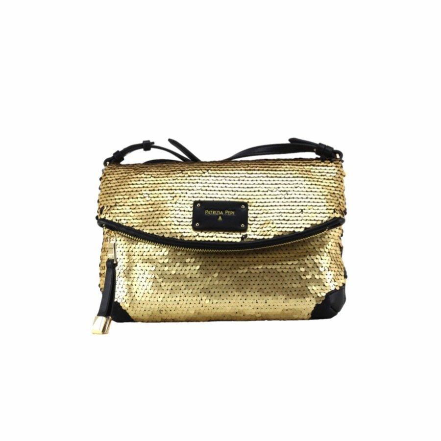 PATRIZIA PEPE - Tracolla con paillettes - Sequins Gold/Black