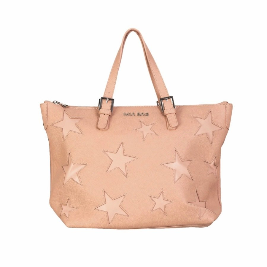 MIA BAG - Shopper in pelle con intagli stelle - Cipria