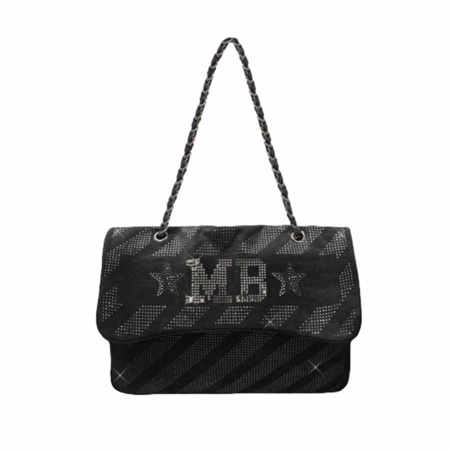MIA BAG • Tracolla Maxi Denim Strass Personalizzabile - Denim Nero