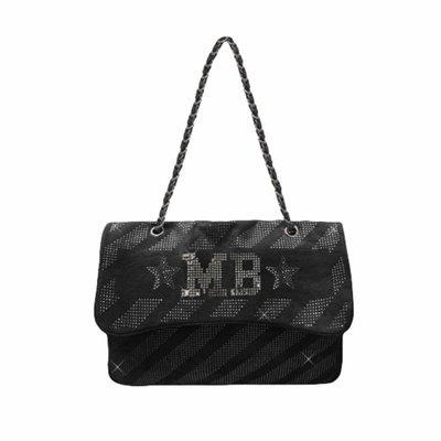 MIA BAG - Tracolla Maxi Denim Strass Personalizzabile - Denim Nero