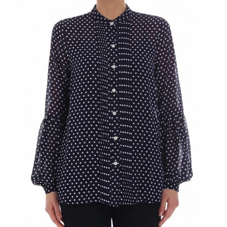 MICHAEL KORS • Blusa a pois in georgette - True Navy/White