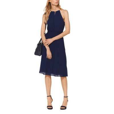 MICHAEL KORS - Abito in georgette con pieghe - True Navy