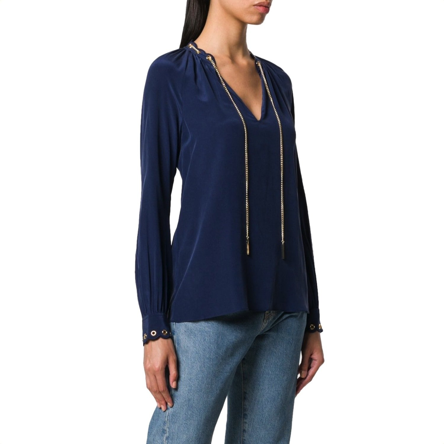 MICHAEL KORS - Blusa in sete con catena - True Navy