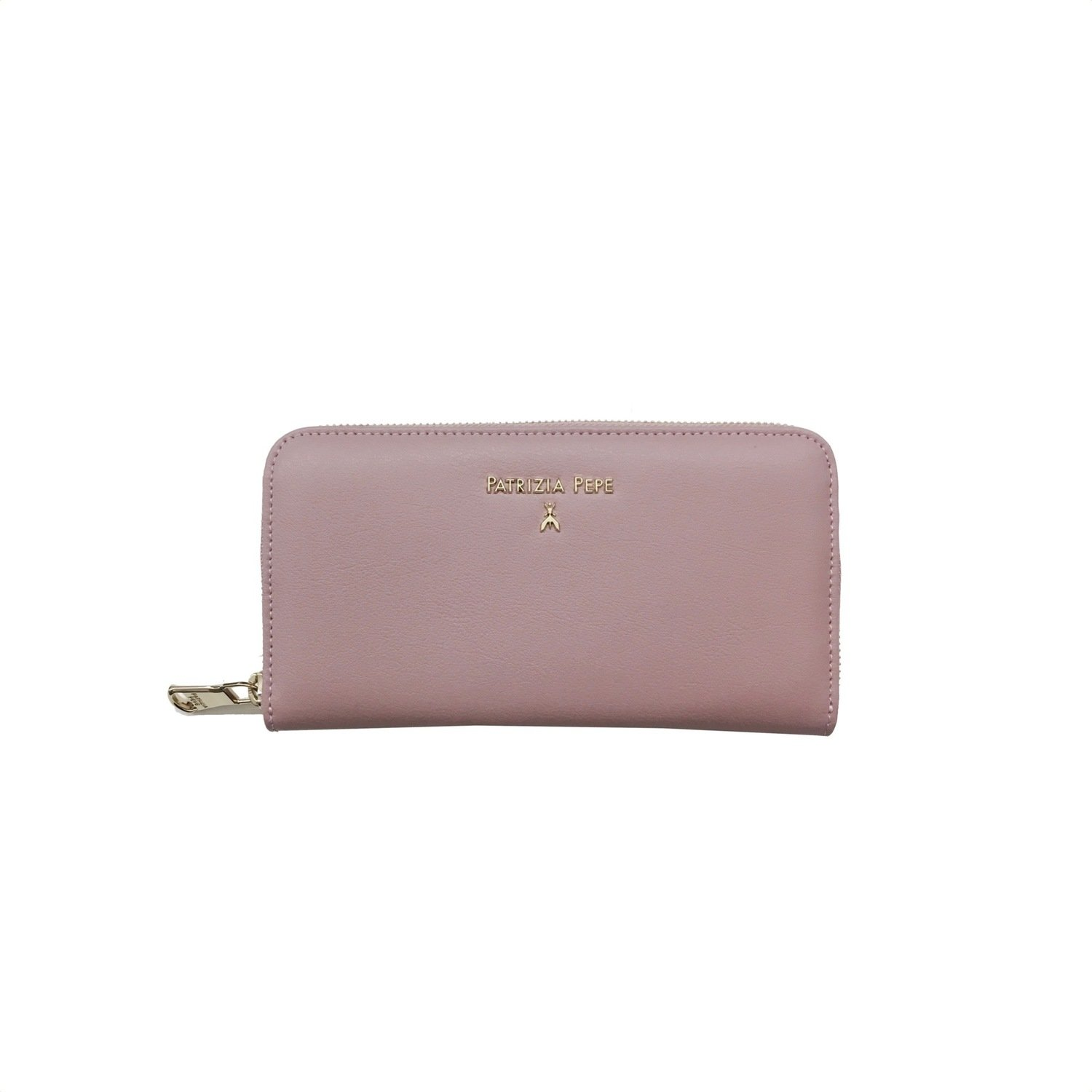 PATRIZIA PEPE - Portafoglio zip around in pelle - Cloud Rose