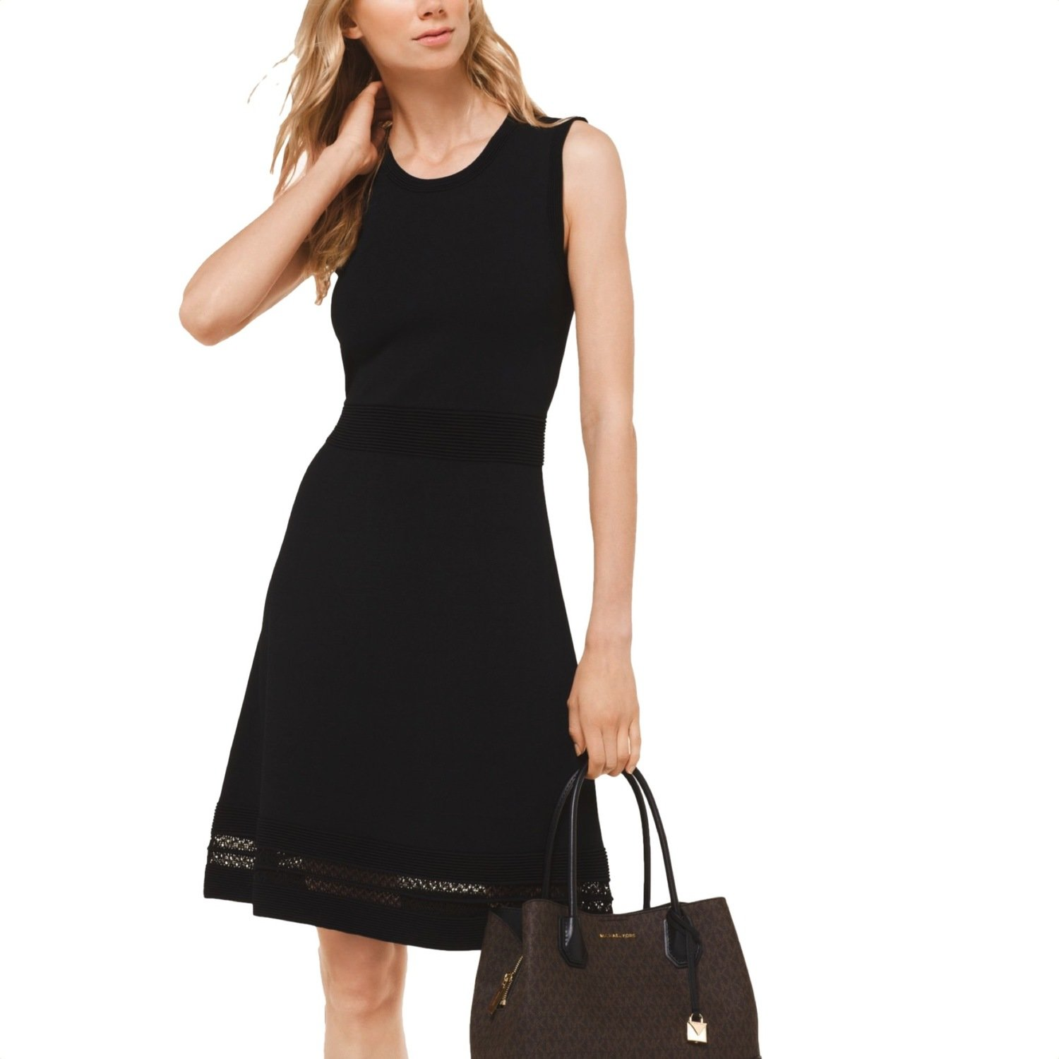 MICHAEL KORS - Abito testurizzato in viscosa stretch - Black