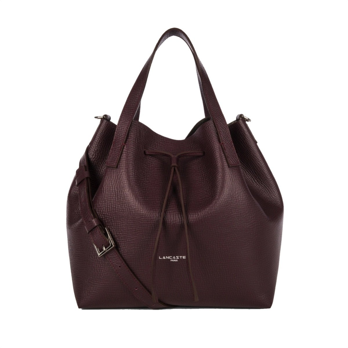 LANCASTER - Large Bucket Bag - Bordeaux in Gris Metal