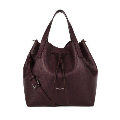 LANCASTER - Large Bucket Bag - Bordeaux in Gris Metal
