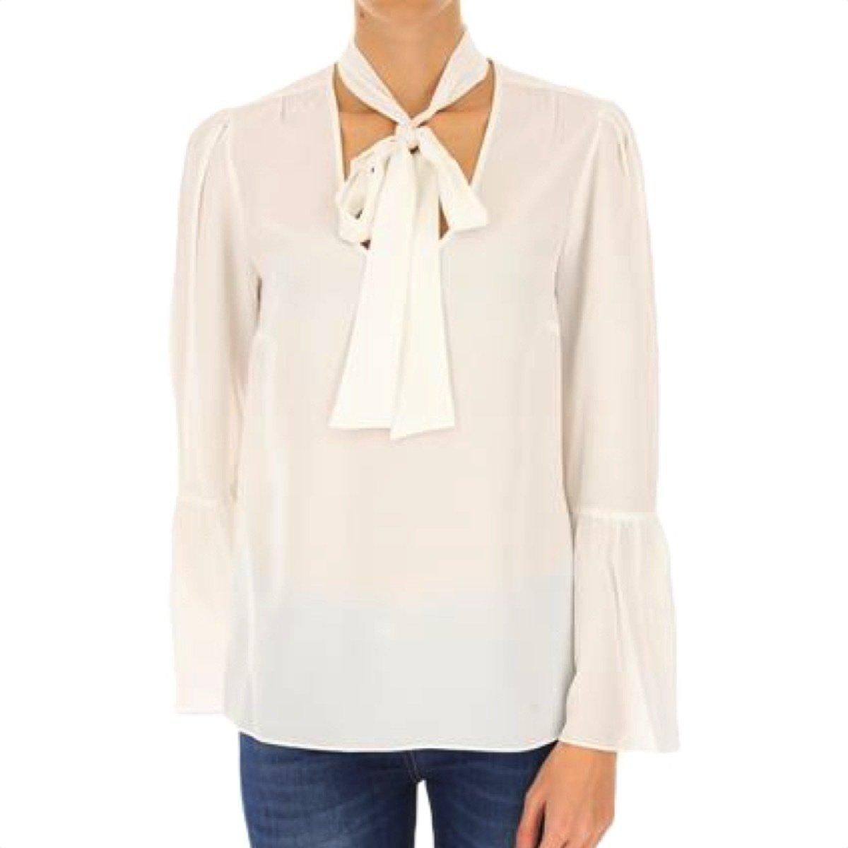 MICHAEL KORS - Camicia seta con collo a foulard - White