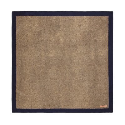 BORBONESE - Foulard con bordo tinta unita 90x90 - O.P Naturale/Blue