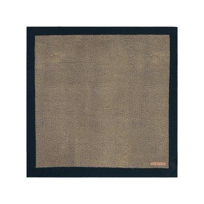 BORBONESE - Foulard con bordo tinta unita 70x70 - O.P Naturale/Blue