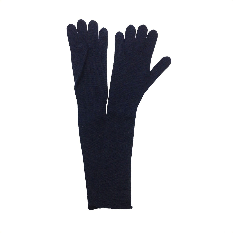 SERGIO DE ROSA - Guanto lungo a maglia rasato - Blu