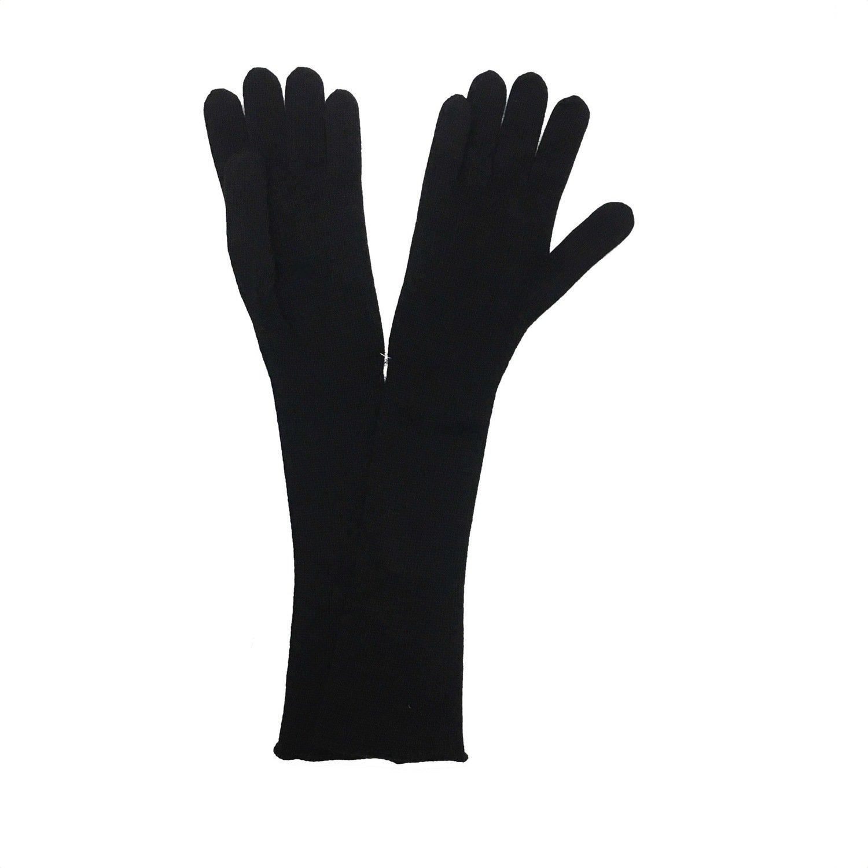 SERGIO DE ROSA - Guanto lungo a maglia rasato - Nero