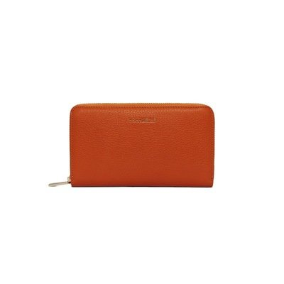 COCCINELLE - Metallic Soft Portafoglio Grande Zip Around - Flash Orange