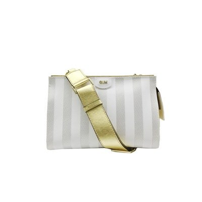 GUM - Seven Clutch Soft Stripe M - White/Gold