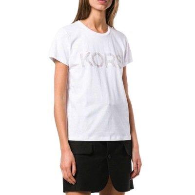 MICHAEL KORS - T-shirt KORS in jersey di cotone con borchie - White