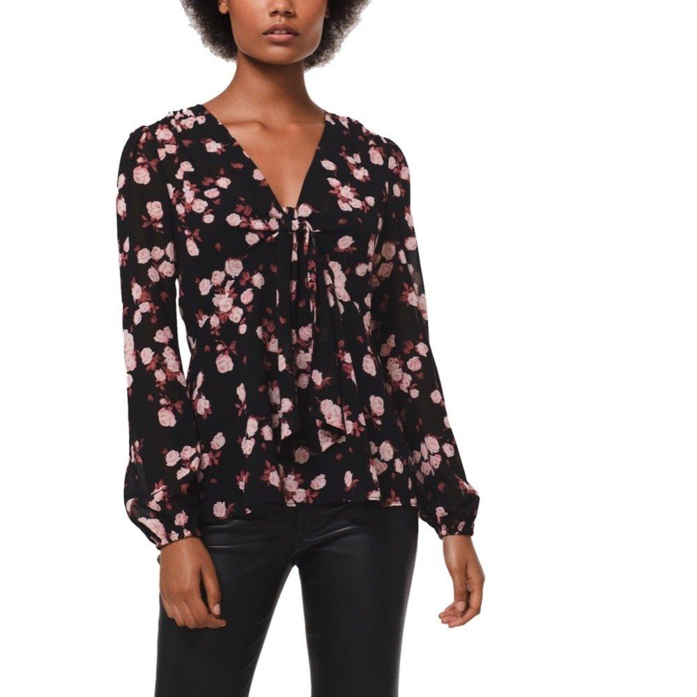MICHAEL KORS - Top in georgette motivo a rose - Black/Dusty Rose
