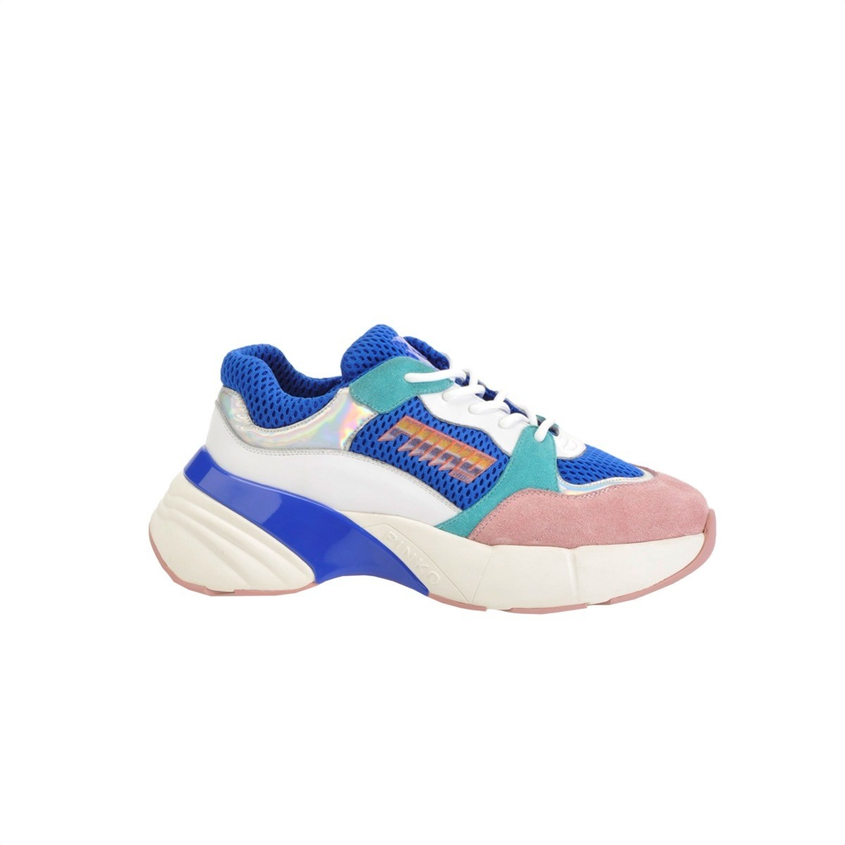 PINKO - Sneakers Shoes To Rock in rete tecnica e suede - Blu/Bianco/Rosa