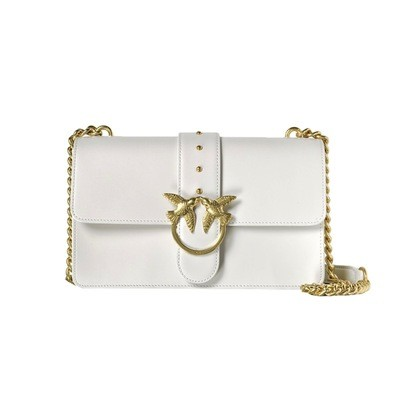 PINKO - Love Simply 10 Tracolla in pelle - White