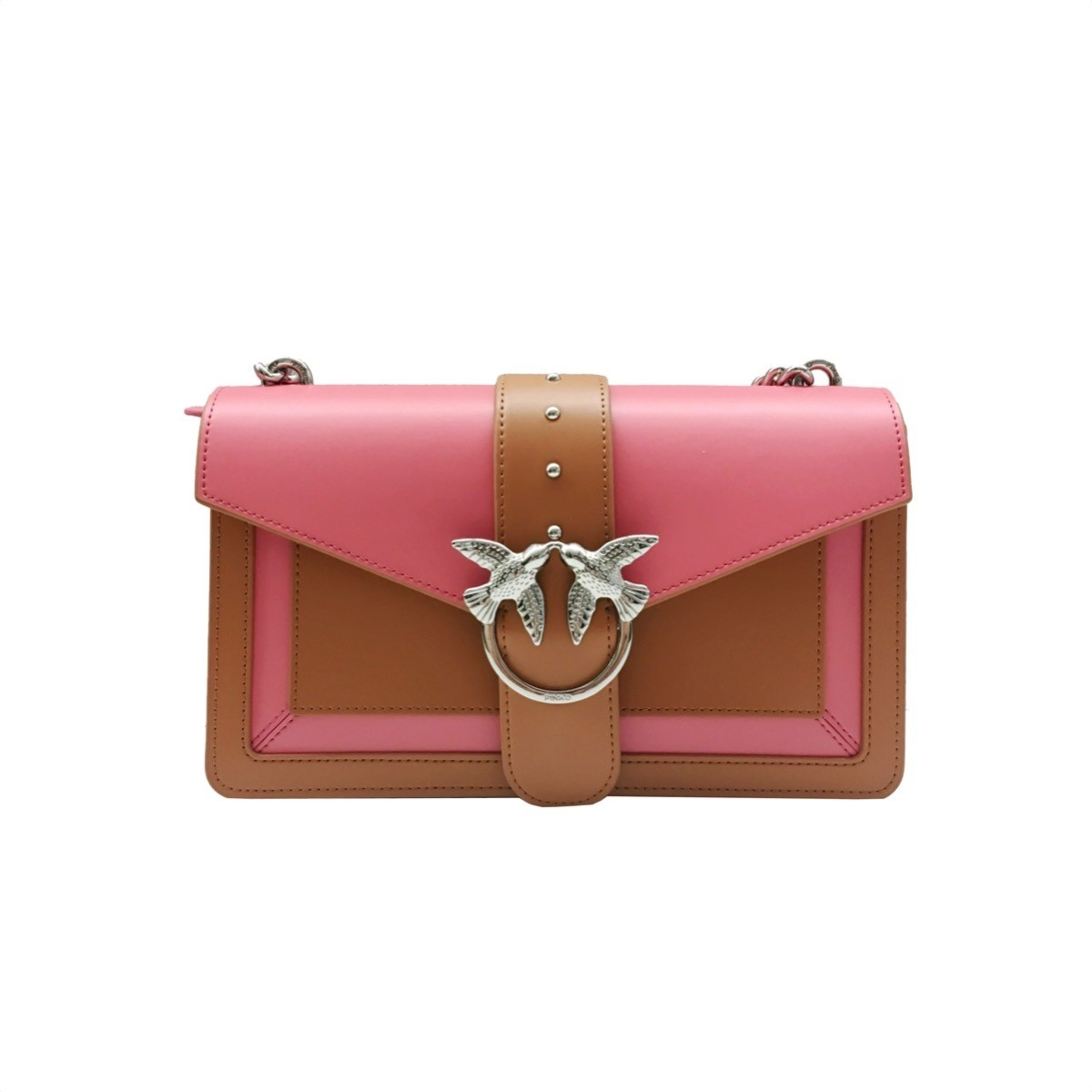 4a8043fdb0 PINKO - Love Bag Evolution in pelle bicolor - Cuoio/Corallo