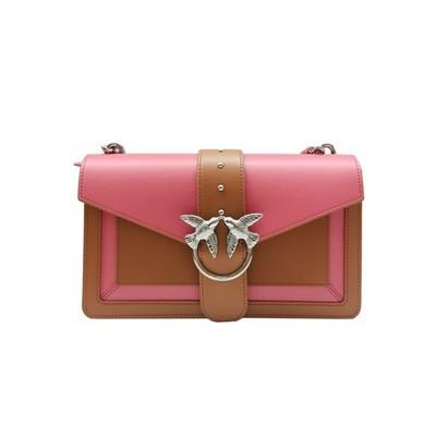 PINKO - Love Bag Evolution in pelle bicolor - Cuoio/Corallo