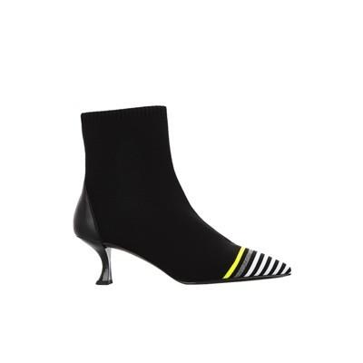 WHAT FOR - Priscille Stivaletto stretch - Black/Bright Yellow