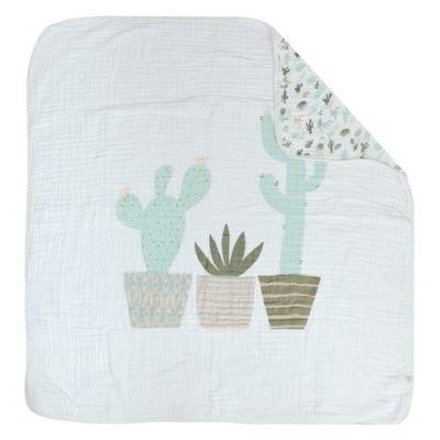 Couverture de mousseline 4 épaisseurs - Cactus Aqua