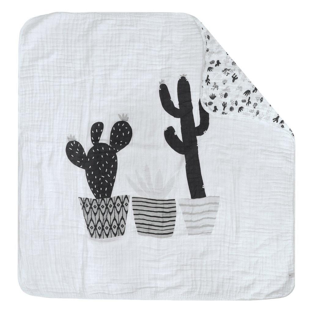 Couverture de mousseline 4 épaisseurs - Cactus Noir