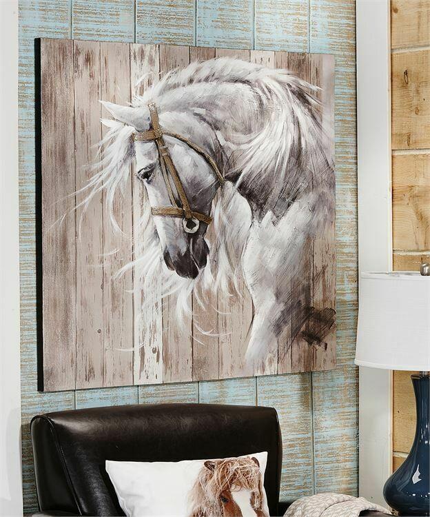 Murale - Peinture acrylique sur bois - Tête de cheval