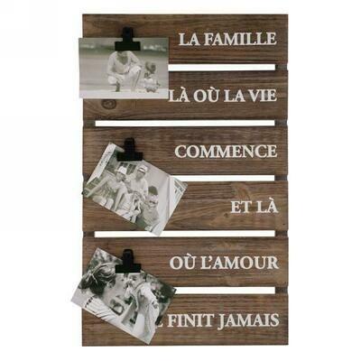 Plaque mur La Famille à 3 photos