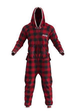 Pyjama une-pièce pour adulte rouge