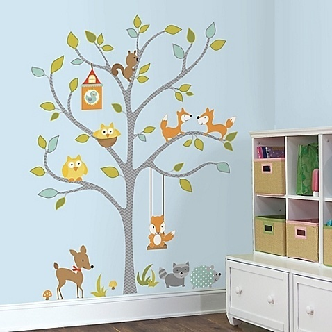 Collant mural arbre et renard
