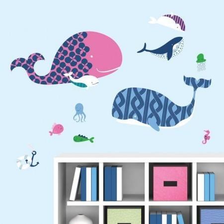 Baleine bleue et rose