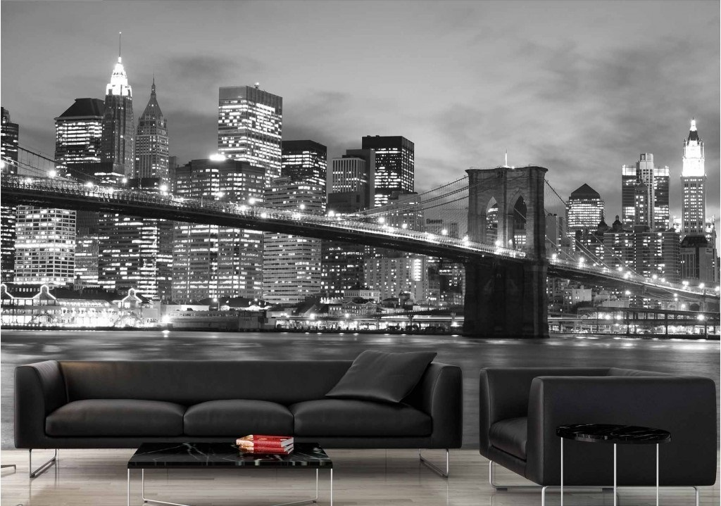Murale Pont de Brooklyn la nuit 9' x 6'