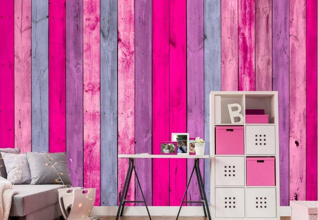Murale Mur de planches de bois roses 12' x 8'