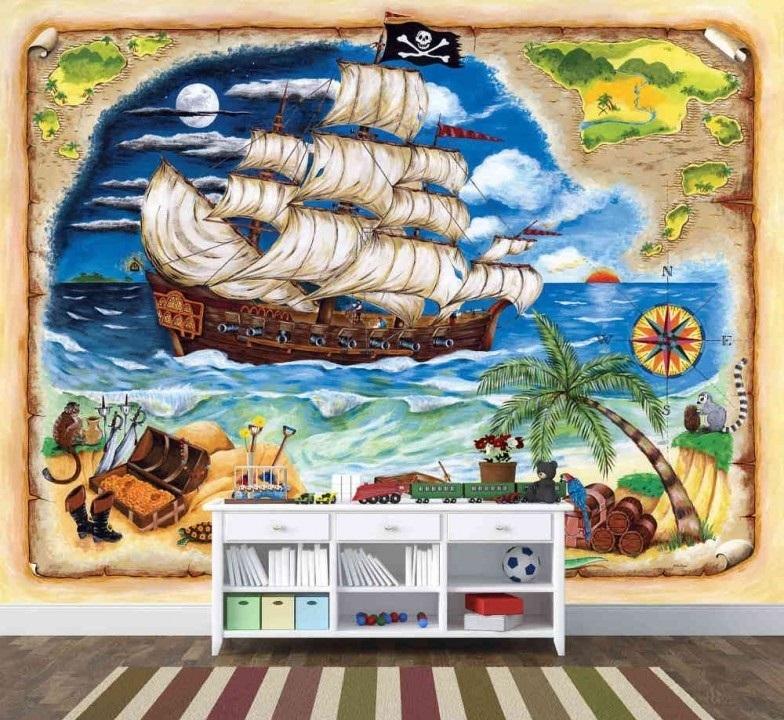 Murale Bateau de pirate 9' x 7'