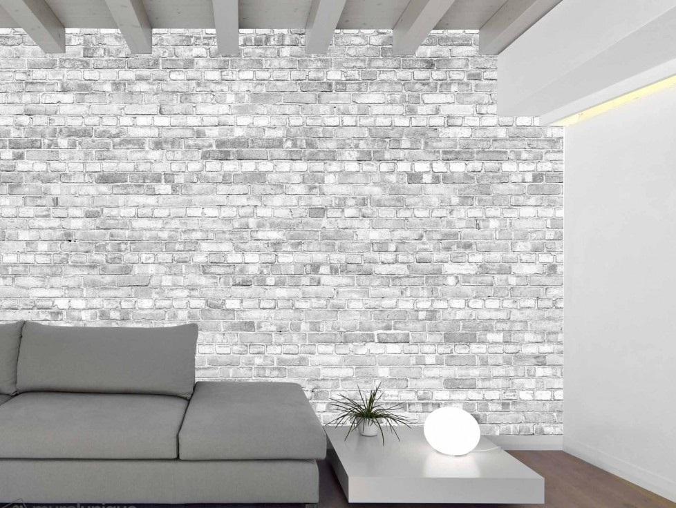 Murale Vieux mur de briques (noir et blanc version pâle) 12' x 8'