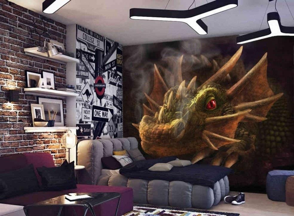 Murale Dragon Fumant 9' x 7'