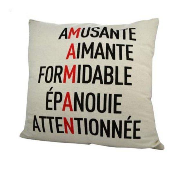 Coussin Maman (Amusante, Aimante, Formidable..)