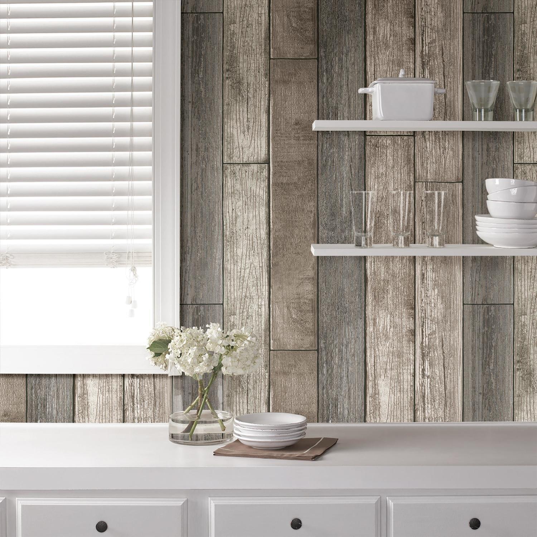 Planche de bois reconstituée naturelle (papier peint adhésif)