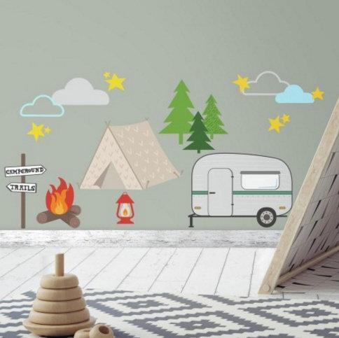 Collant mural Camping