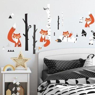 Collant mural Petit renard dans la forêt