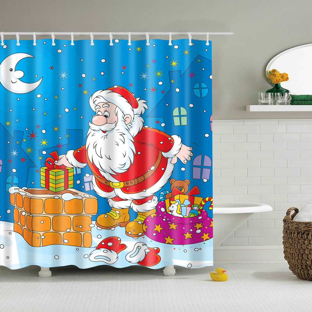 rideau de douche joyeux no l. Black Bedroom Furniture Sets. Home Design Ideas